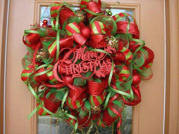 How to make a mesh wreath for Christmas deco mesh wreath tutorial door decoration