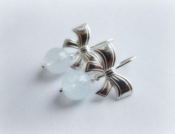 Genuine aquamarine gemstone earrings sterling by MalinaCapricciosa