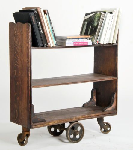 Antique Library Cart Vintage Bookcase Casters Industrial Book Mid Century Deco