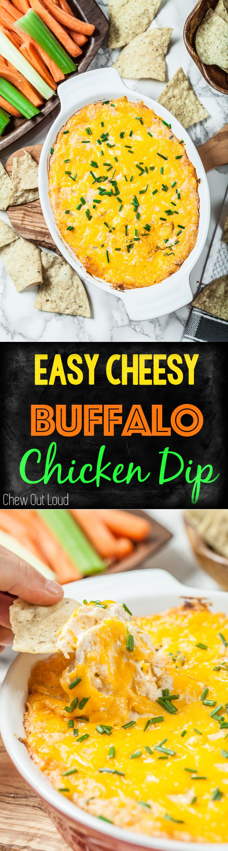 Cheesy Buffalo Chicken Dip! SOO creamy delicious and EASY. Game days, holidays, parties.  #appetizer, #gameday #holiday #partyfood #recipe #food #chewoutloud #buffalo #chicken #dip #fingerfood #cheese  www.chewoutloud.com