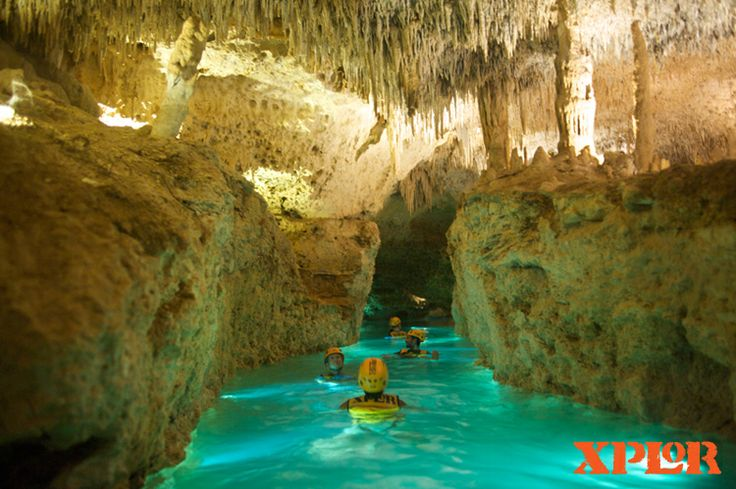 """Swam and """"rafted"""" in stalactite rivers at Xplor Park. Cancun, Quintana Roo, Mexico"""