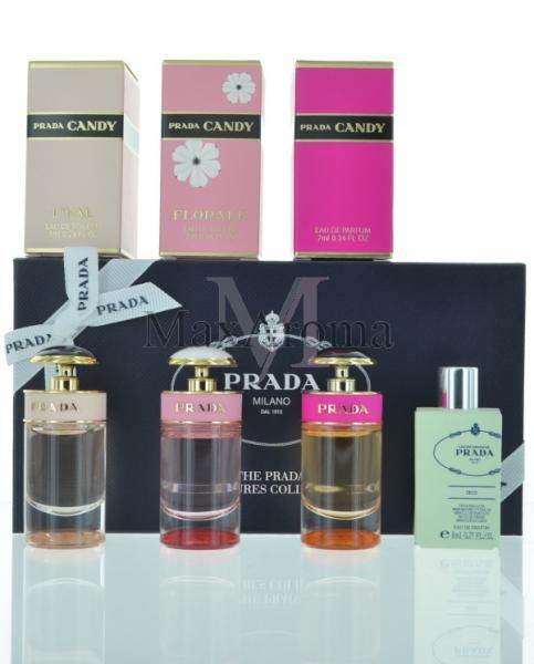 Prada Miniatures perfume collection for Women |Maxaroma.com    This Set includes a Prada Candy ,Les Infusions de Prada Iris Eau de Parfum 7 ml 0.24 oz & Prada Candy Florale , Prada Candy L'eau Eau de Toilette 7 ml 0.24 oz Splash .