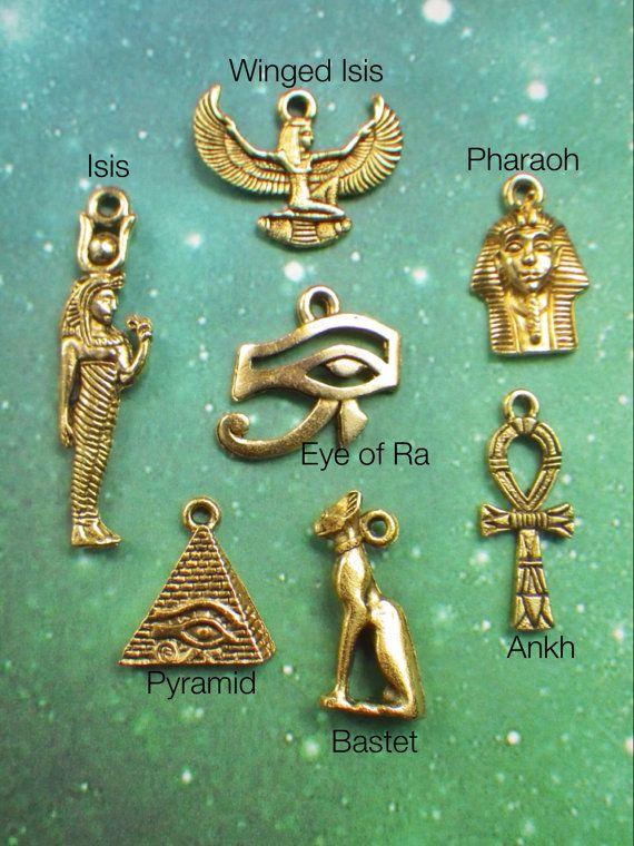 Gold Egyptian Eye of Horus, pyramid, Isis Bastet necklace