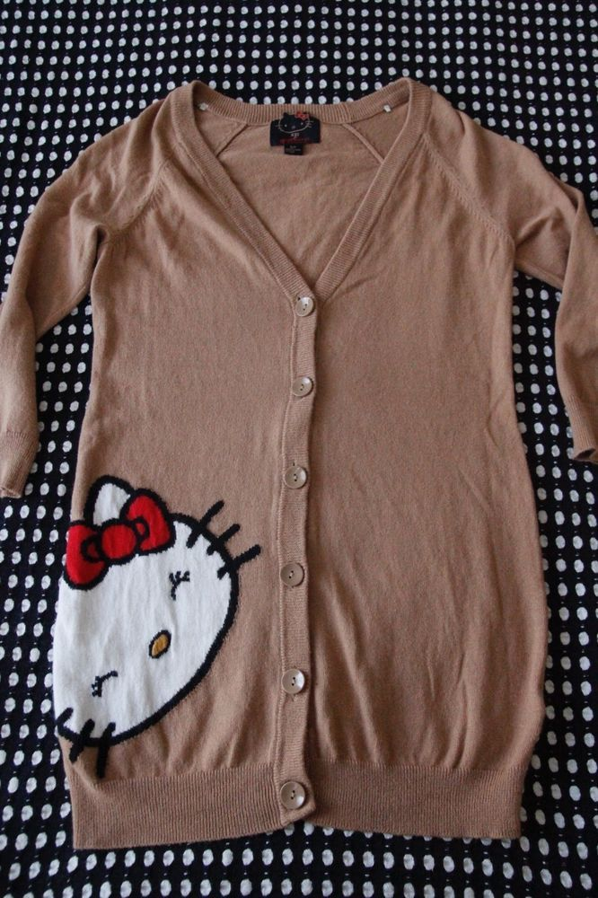 HELLO KITTY Forever 21 Limited Edition Cardigan Size Small Tan/Brown Long Sleeve #HelloKitty #Cardigan