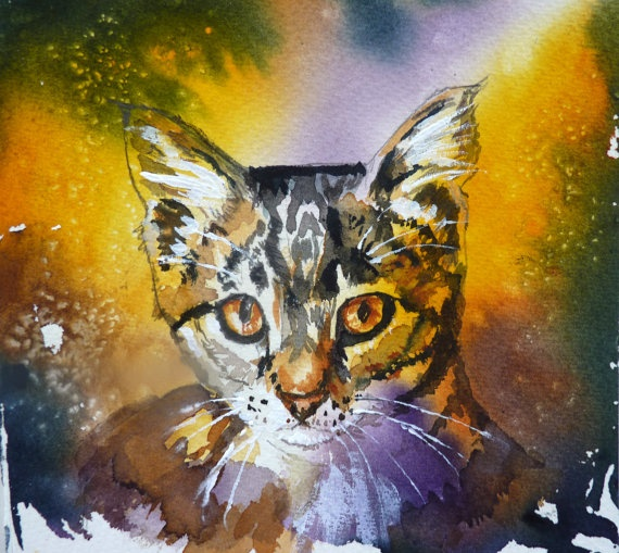 Tabby Cat Watercolor Print by Maure Bausch