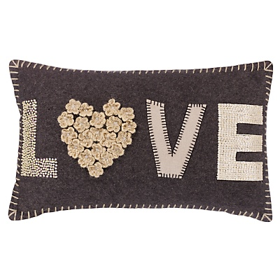 £35 Buy John Lewis Love Cushion, Grey / Cream online at JohnLewis.com - John Lewis