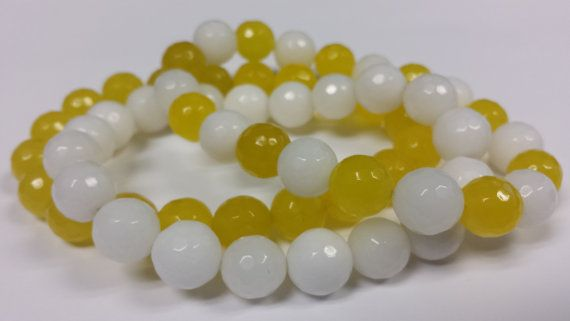 Yellow & White 10mm Faceted Jade Beads