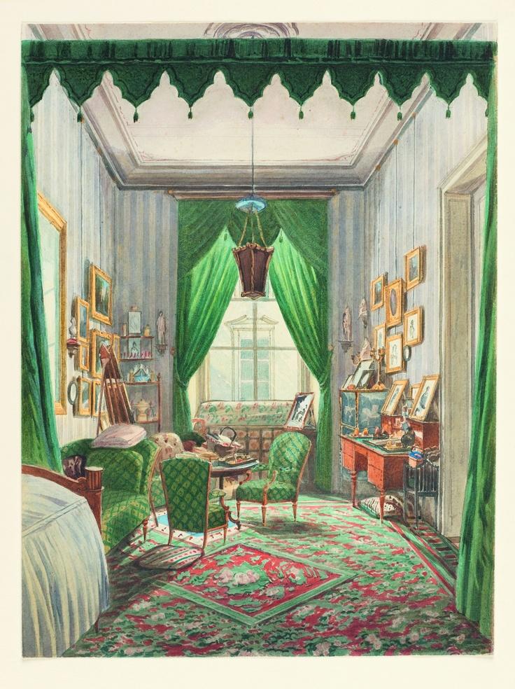 Anonyme, Autriche, Intérieur avec alcôve tendue de rideaux, vers 1853 © Cooper-Hewitt, National Design Museum, Smithsonian Institution, photo Matt Flynn