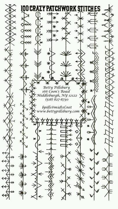 Puntos de bordado en costuras de patchwork / Crazy quilt stitches                                                                                                                                                     Más