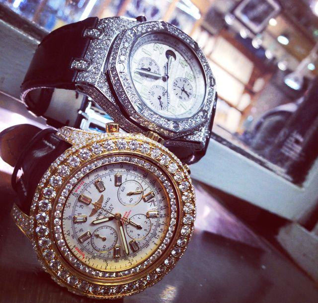 Mens 18K Gold 17.00 Ct Diamond Breitling Bentley Watch