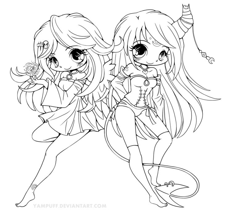 Coloring Pages For Girls: Suii And Iish Lineart By YamPuff.deviantart.com On