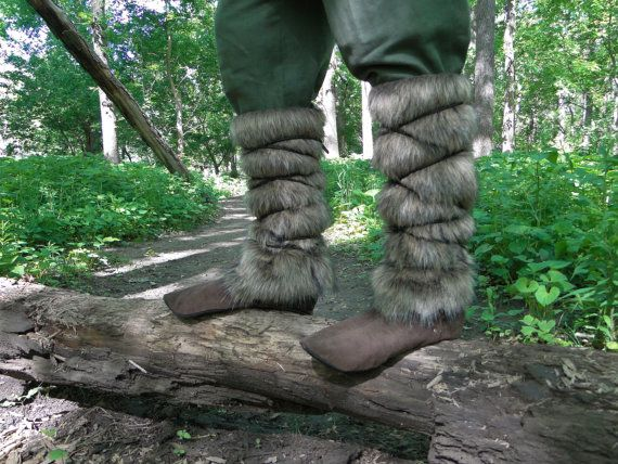Viking Fur Leggings / Boot Covers, Norse, Barbarian, Medieval, Dwarves - Faux Fur