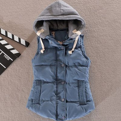 FIONTO Women Winter Vest Cotton Casual Temperament Slim Vest Coat Hooded Winter Warm Jacket And Outerwear A045
