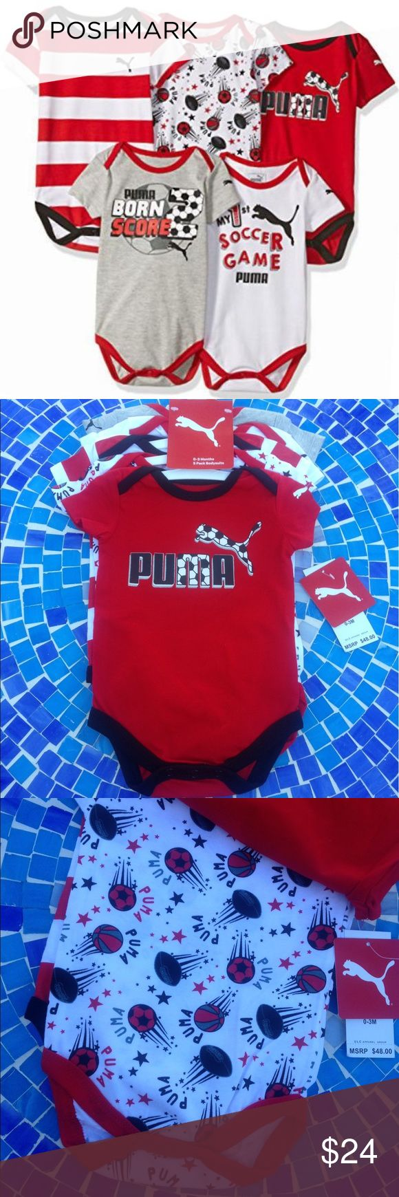 NEW!  Puma 5pk bodysuit/onzies 0-3M in fierce red Brand new, super soft PUMA onzies are super soft & so adorable, making them the ideal gift for a mom-to-be or new mom!  These little bodysuits are invaluable in the first months & will literally become their uniform, as they conveniently unsnap, allowing for ease of diaper changing!  They are brand new, never worn with tags attached & retail at $48!  No trades please. Puma One Pieces Bodysuits