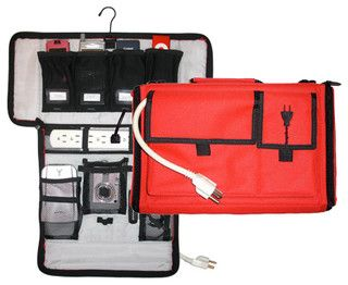 Travel Cord Organizer & Charging Case, Red - contemporary - cable management - by Great Useful Stuff