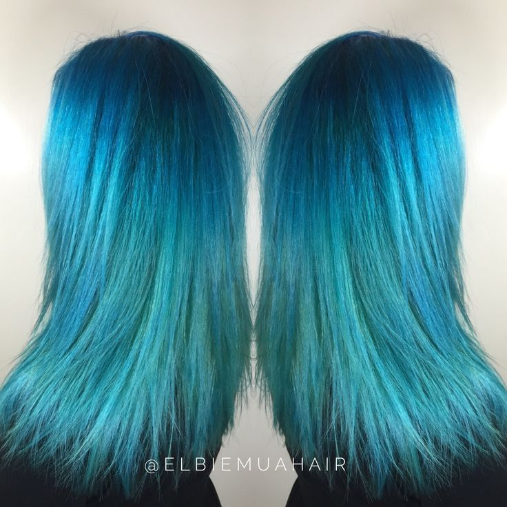 Blue, teal and green ombre mermaid hair - colour and cut done by me.