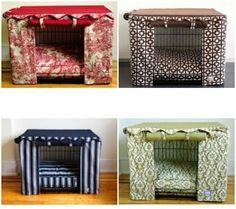 dog crate cover diy by leticia - I am so tired of looking at metal crates.  When I redo the bedroom, I am buying extra fabric to coordinate the kennel.