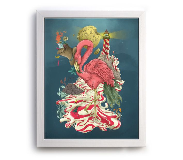Psychedelic Flamingo - diseñado por Juan Sebastián Rubiano. Tienda Plasma.