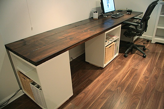 Aubrey & Lindsay's Beautiful DIY Basement Studio Desk | Apartment Therapy  --could do this with a door and filing cabinets. I want some kind of hutch for storage too though.