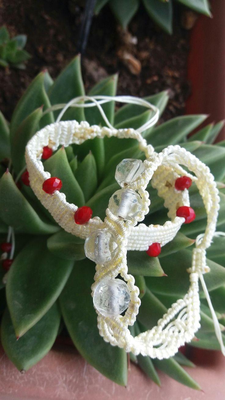 Bracalet macrame  Beads murano  By JuKo creations!
