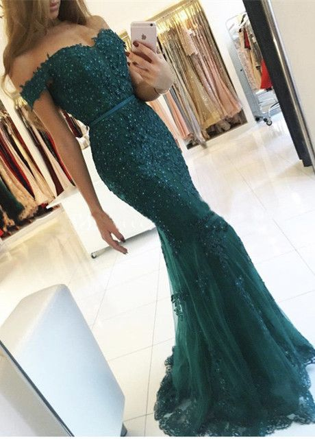 Dark Green Prom Dresses,Mermaid Prom Dresses,Off The Shoulder Prom Dresses,Formal Dresses 2017,Pageant Gowns