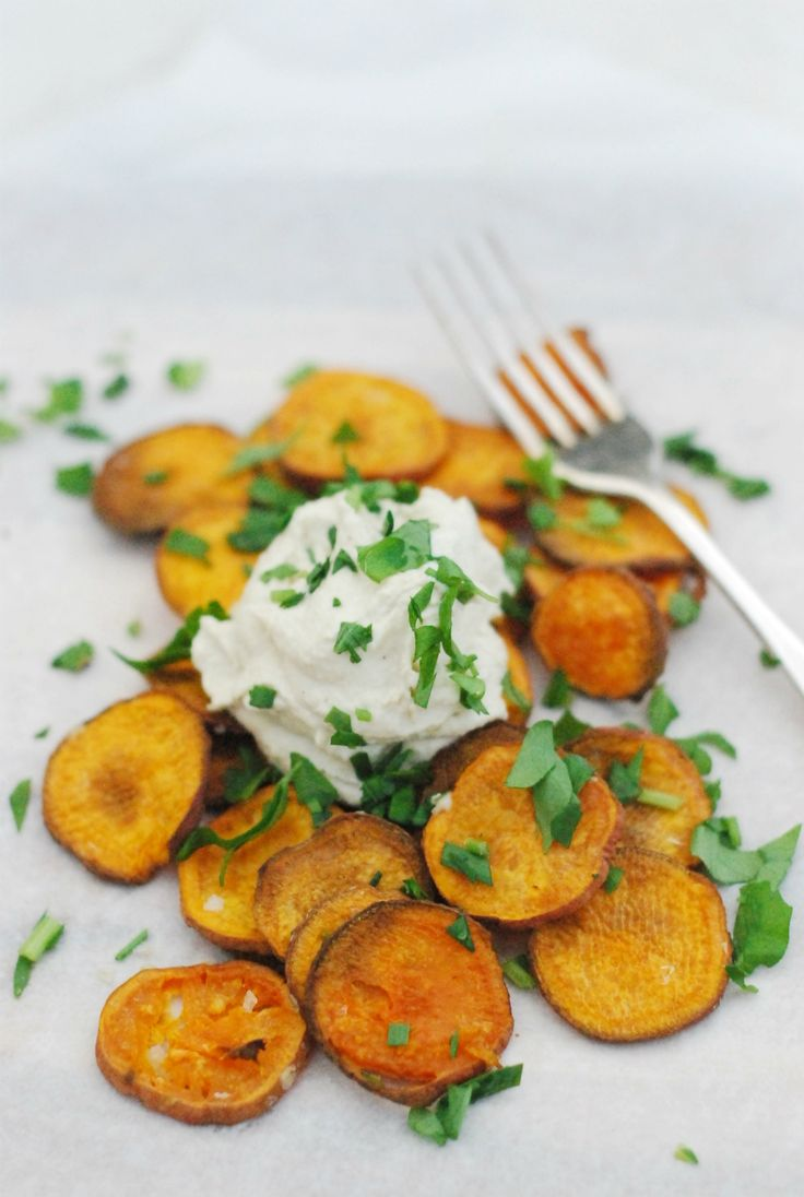 Sweet Potato Chips with Cashew Cheese