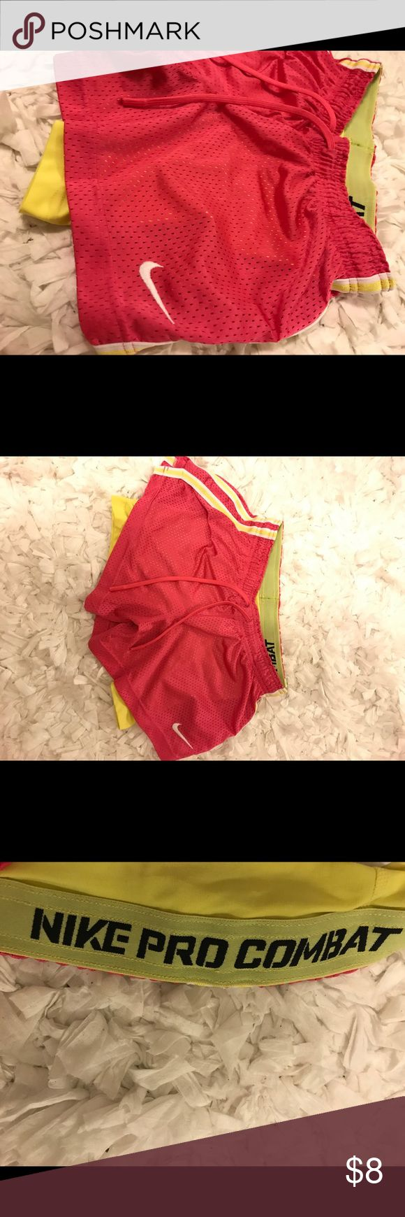 Nike Pro Combat short- Workout Pink outer mesh material, inner attached Nike pros (yellow) Nike Shorts