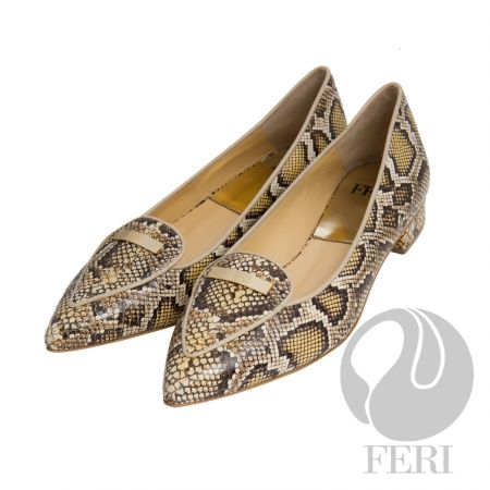 - Snake skin printed napa leather flat with small heel - Napa leather sole and insole - Colour: Yellow/Black snake skin print - FERI logo hardware on sole and toe - Heel height: 1 inch