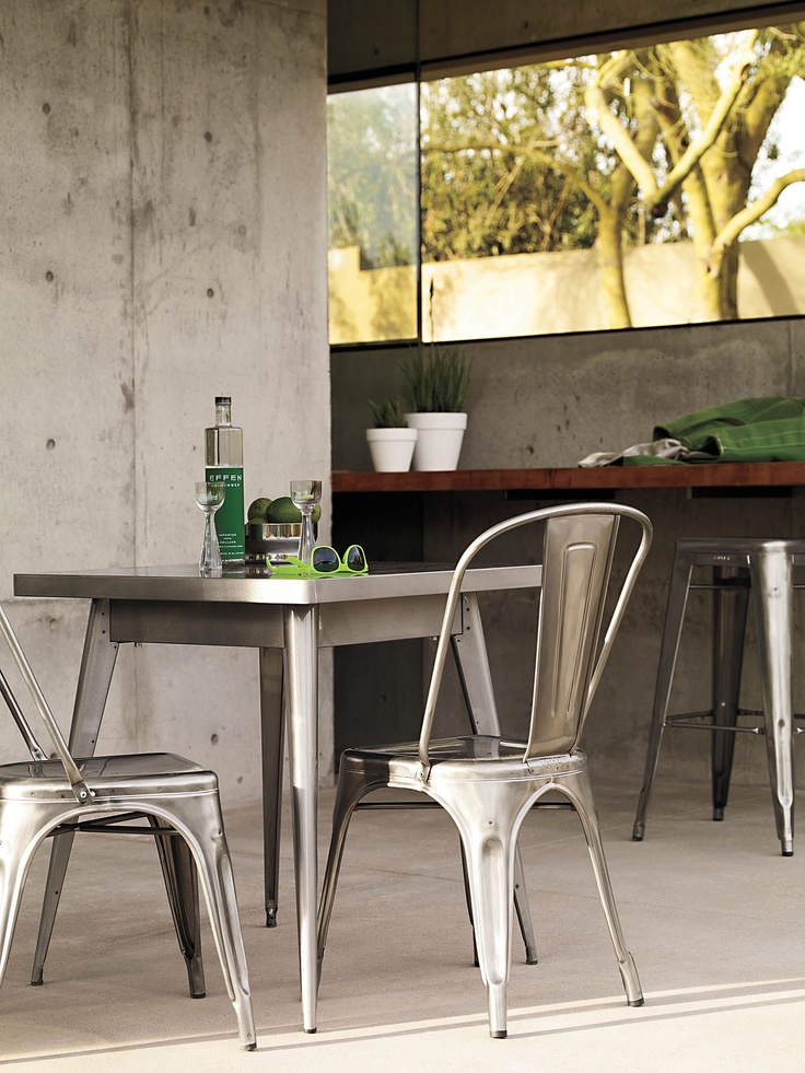 tolix marais two seater dining table designed by jean pauchard outdoor living pinterest. Black Bedroom Furniture Sets. Home Design Ideas