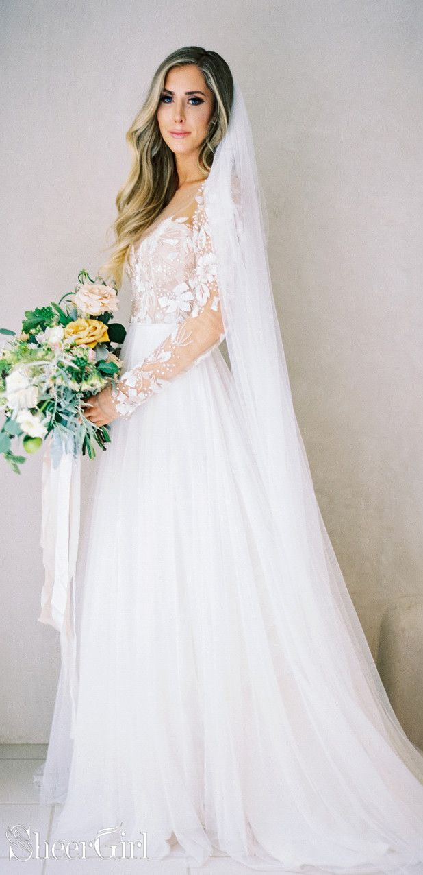 Long Sleeve Beaded Floral Lace See Through Boho Wedding Dresses Awd1267 Wedding Dresses Long Sleeve Wedding Dress Boho Wedding Dresses Lace [ 1276 x 618 Pixel ]