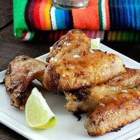 Margarita Chicken Wings Recipe Appetizers with tequila, triple sec, fresh lime juice, lime, salt, chicken wings, flour, honey, coarse salt, lime wedges, Tabasco Pepper Sauce