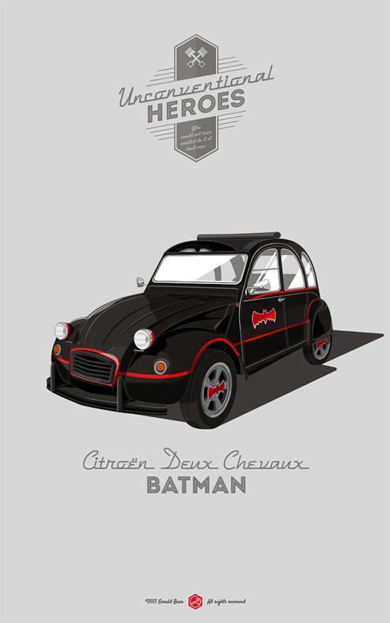 Ilustrador recria veículos de heróis com modelos vintage reais