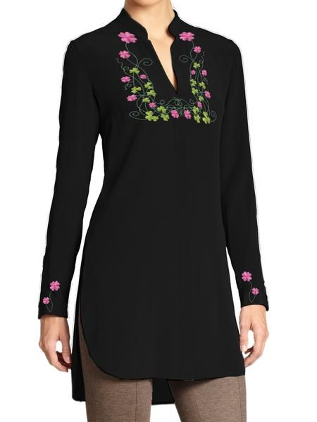 Top with Embroidery on Neck and Sleeves (Customizable)