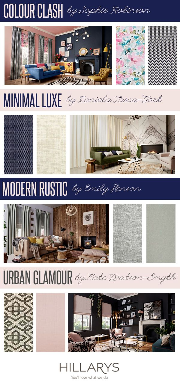 Four of our favourite interiors specialists have designed distinct, trend-led looks  using our new collection of curtains and Roman blinds. From cosy and comfortable to modern and minimalism, there's a style to suit everyone! Which is your favourite? #IWANTTHATSTYLE