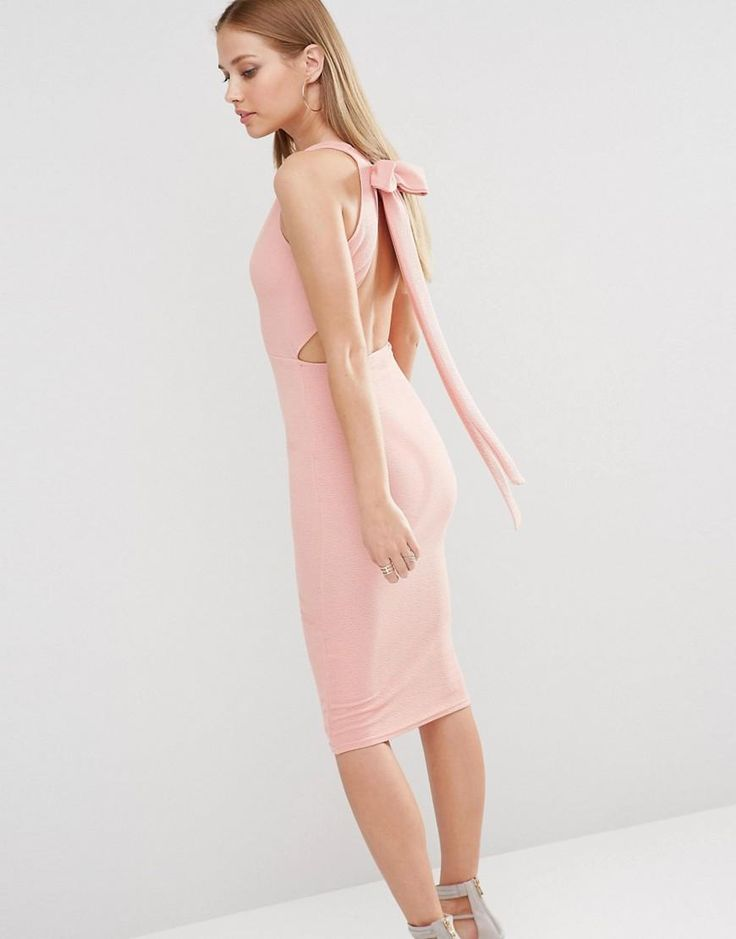 Oh My Love | Oh My Love Plunge Bow Back Midi Dress at ASOS