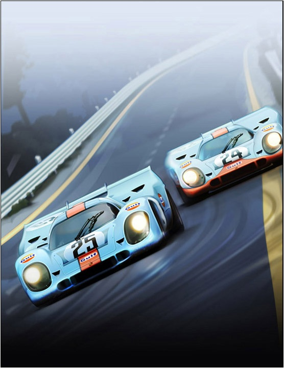 Porsche 917 art only for the 36th Monterey Historic Automobile Races events poster by Jim Hatch (finished painting without type layers; file size 243MB using 50 layers and 125 paths)