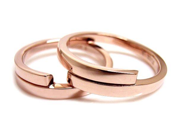 AMBRACE K18 pink gold ring stylish flat curve ピンクゴールド ペアリング スタイリッシュ フラット カーブ
