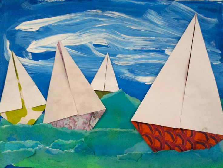 These look great and are an easy way to cover overlapping and size difference. Art with Ms. Gram: Seascapes (4th)
