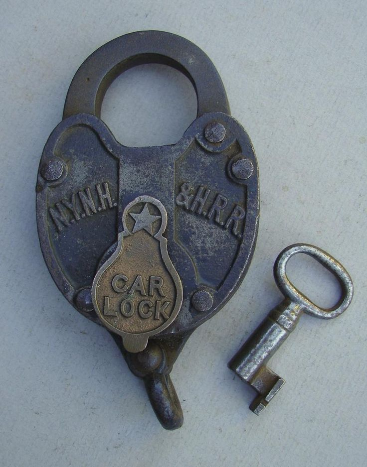 Antique Iron New York New Haven & Hartford Railroad Car Lock and Key Set