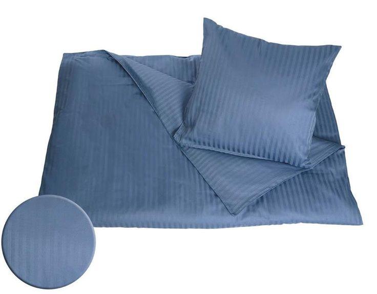 Påslakanset Satin - 100% Bomull - Randig blå - 140x200 cm