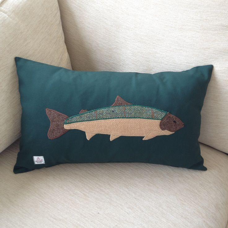 Cushion with an appliquéd Harris Tweed Trout.