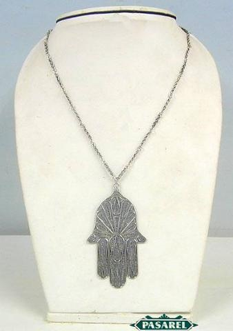 Ethnic Artisan Yemenite Silver Filigree Hamsa Necklace