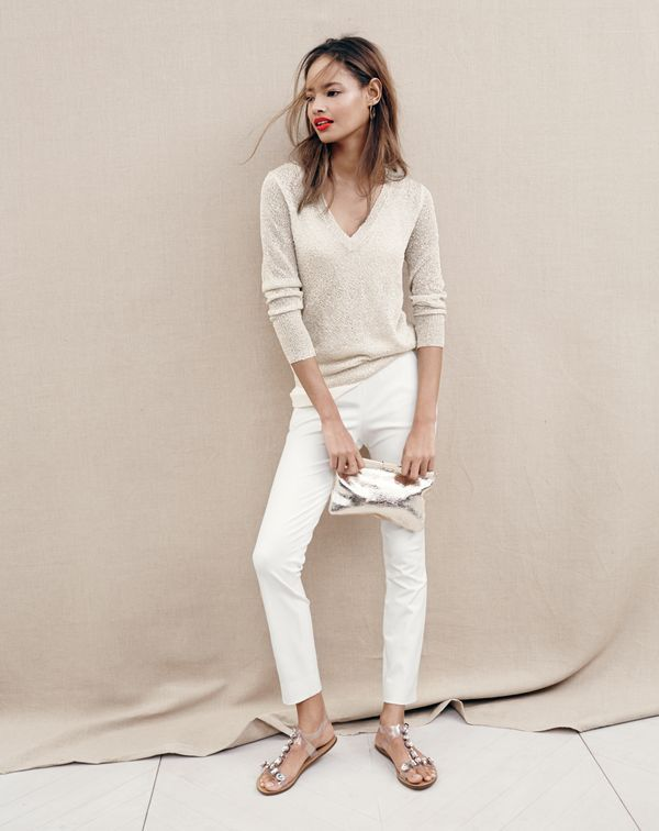 summer chic - J.Crew shimmer V-neck sweater in champagne and cropped Martie pant in ivory.