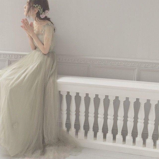 モスグリーンのドレス 秋にぴったりのカラードレスです*