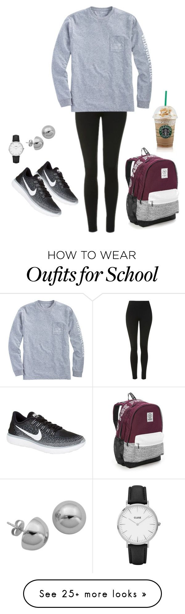 """""""lazy day at school but still wanna look cute lol"""" by jessicamariejms on Polyvore featuring Topshop, Vineyard Vines, NIKE, CLUSE, Lord & Taylor and Victoria's Secret"""