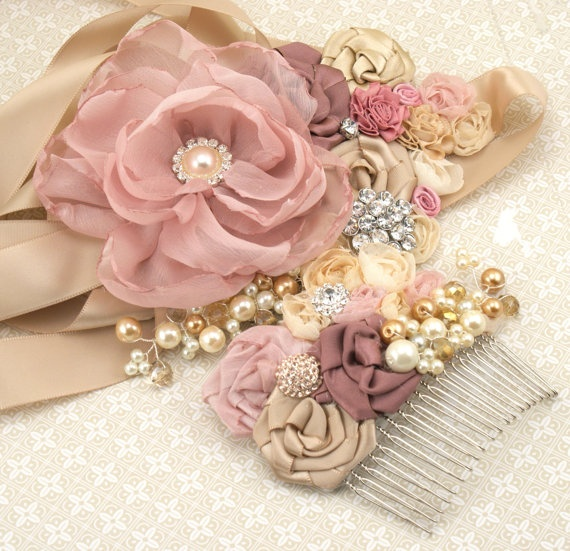 Bridal Hair Comb Fascinator In Blush Pink Champagne By