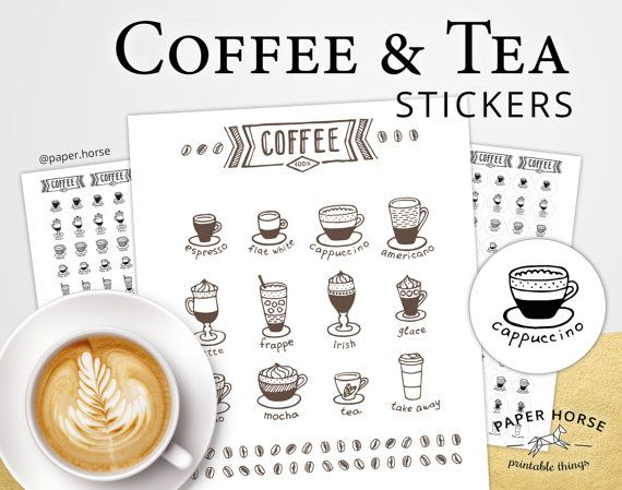 Coffee and Tea printable stickers for planner by PaperHorseDesign