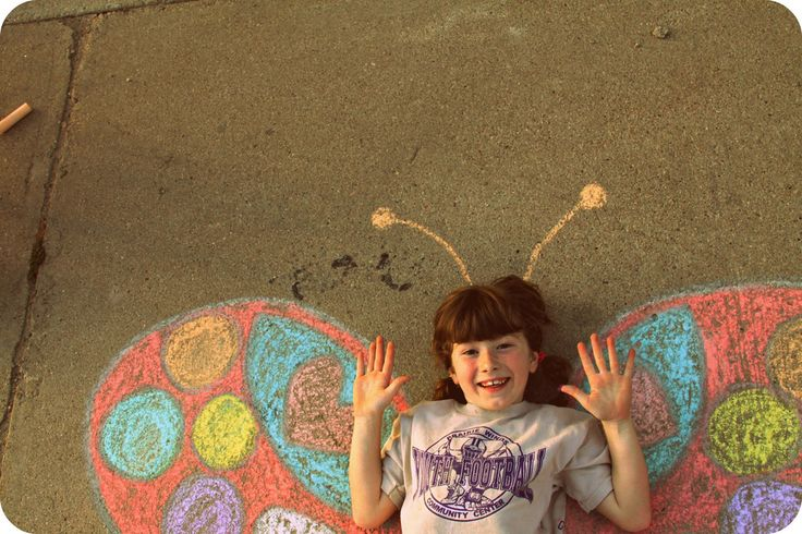 Chalk Portraits - this could be good outdoor fun with younger students