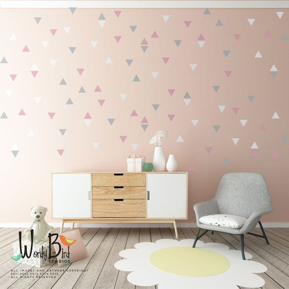 Triangle wall decals, baby nursery wall decor, gold triangle decals, wall decals