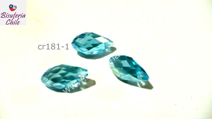 cristal en forma de gota, facetado color celete, 12 mm de largo por 6 mm de ancho, set de 3 unidades | Bisuteria, Bisuteria Chile, venta de insumos para bisuteria, dijes, colgantes, piedras naturales, cadenas, terminales